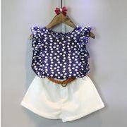 子供服 夏 Tシャツ+パンツ 女の子 花柄 2点セット キッズ セットアップ