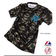 ★「Majestic Japan」のニューヨークヤンキースNYロゴプリント入りカモフラ迷彩Tシャツ★