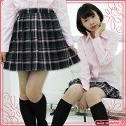 ■送料無料■チェック柄プリーツスカート単品 色:黒×グレー×ピンク サイズ:M/BIG■Te
