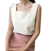 アンティーク調 韓国風 首輪 コットン 着やせ ルース 単一色 ベスト スリング 夏 女
