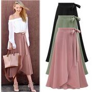 レディーススカート 3色フリルスカート ロングスカートフリル裾 リボン飾り 韓国風  無地 カジュアル