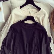 秋 新しいデザイン 韓国風 ファッション 長袖Tシャツ 女 単一色 何でも似合う ルース