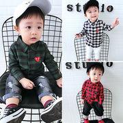 秋服 新しいデザイン 男児 カジュアルシャツ 赤ちゃん 格子縞のシャツ 韓国風 女児 ト