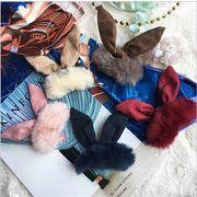 ★秋冬新作新作★ファーヘアピン レディース かわいい ヘアアクセサリー ウサギ 5色