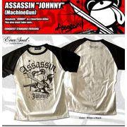 「ASSASSIN JOHNNY Ragran SST(Machine Gun)」 ラメプリントラグランTシャツ