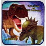 恐竜タオルハンカチ ティラノサウルスVSパケキファロサウルス