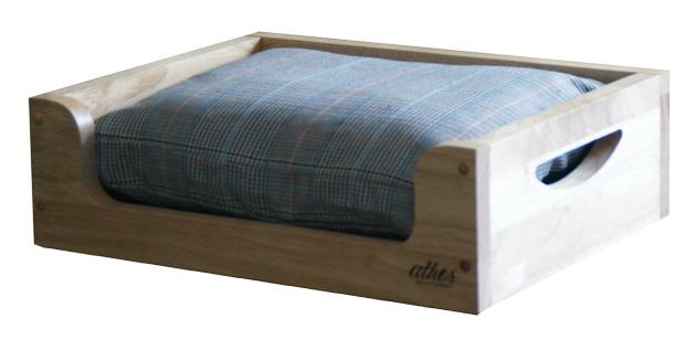 athos shop木製ベッド(小)チェック柄B/犬用ベッド