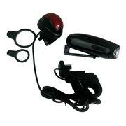 LEDダイナモフラッシュライト(手回し充電ライト) ヘッドライト&テールライトセット [在庫有]