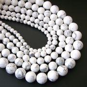 ホワイトハウライト 一連 (φ4mm-20mm) 連売り 天然石・パワーストーン 素材 パーツ 丸玉