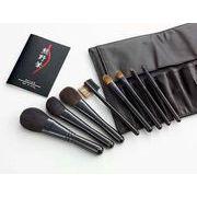 熊野化粧筆セット 筆の心 ブラシ専用本革ケース付き KFi-K508