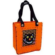 ハロウィンカラーのミニバッグ/チェシャ猫/小物入れ、お買い物、財布入れ、化粧袋に♪/ハロウィーン