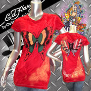 【Ed Hardy】エドハーディー★Born Free★Butterfly Tシャツ レッド