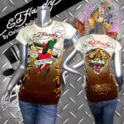 【Ed Hardy】エドハー★ディーTRUE TIL DEATH★イーグル★タイガー★ロゴ箔プリント★Tシャツ ブラウン