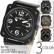 【メンズ仕様】★スクエアビッグフェイス・ミリタリー腕時計【全3色】
