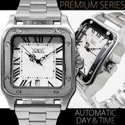 【カレンダー機能付き】★スクエアフェイス自動巻き腕時計【保証書付】