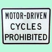 US MOTOR-DRIVEN CYCLES PROHIBITED トラフィックサインボード