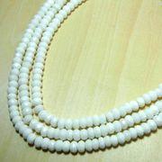 カット平(ホワイト)オニキス一連(4×8mm) 連売り 素材 パーツ ボタンカット