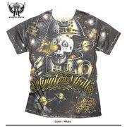 ★フルカラーインクジェット!★スペーススカルロボット&UFO総柄プリントTシャツ!★