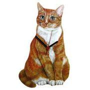 ◆英アソート対象商品◆【英国雑貨】Lark Rise Designs 猫の壁掛け時計 GINGER&WHITE(LRC9)