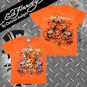 【Ed Hardy】エドハーディー★スカル★ロゴ★メタリックゴールド★KID'S★Tシャツ オレンジ