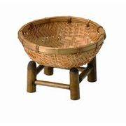 【即納可】竹 台つき円形バスケット
