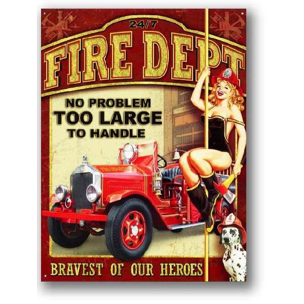 アメリカン雑貨★看板★ピンナップガール★セクシー消防士&レトロな消防車