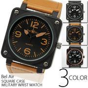 【ユニセックス仕様】★スクエアミディアムフェイス・ミリタリー腕時計【全3色】