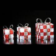 クリスマスイルミネーション LEDクリスタルプレゼントボックス(レッド)