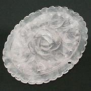 天然石 パワーストーン/ローズクォーツ(紅水晶)  花・フラワー彫刻 アクセサリーパーツ