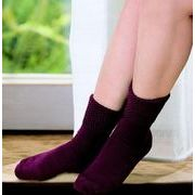 冷える足元を内側天然シルク混で守るカプサイシン 婦人シルク混二重編みソックス