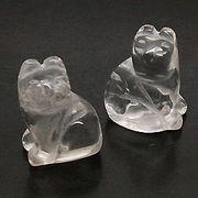 天然石 パワーストーン / 水晶・クリスタルクォーツ 猫・ネコ 置物