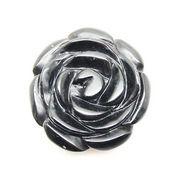 天然石オニキス黒瑪瑙 薔薇バラ花フラワー アクセサリーパーツルース置物t81