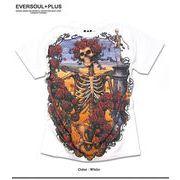 ★圧倒的な存在感!★フルカラーインクジェットプリントのスカル&ローズがインパクト大の半袖Tシャツ★