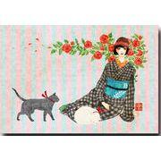 大正モダンポストカード 猫と薔薇