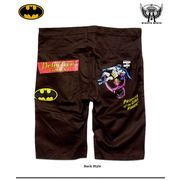 ★入手困難!★アメコミヒーロー「バットマン&ロボット」のプリント&刺繍チノショートパンツ!★