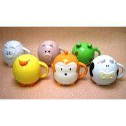 【アウトレット】≪ユニークな≫蓋付きカップ型動物小物入れ ヒヨコ/ウシ/サル/ヒツジ