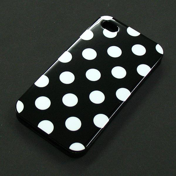 ★SALE★【I4/TPU】auソフトバンク iPhone4/S (アイフォン4) ブラック ホワイトドット柄 ソフトTPU