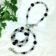 【L'ange】 ビーズリード&ネックレス 2点セット black pearl