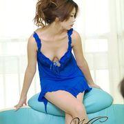 セクシー ランジェリー/SEXYドレス ドレス、Tバックショーツセット青