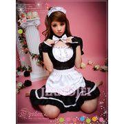 【即納】黒×白可愛いメイド服 蝶リボンのメイド服 コスプレ アキバコスチュームハロウィンクリスマス