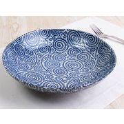 【この深さを待っていた】 藍染の伝統美 たこ唐草 深め大皿