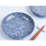 【取り分け皿に小皿メニューに】 藍染の伝統美 たこ唐草 丸小皿