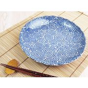 【理想的な和風の大皿】 藍染の伝統美 たこ唐草 大きめプレート