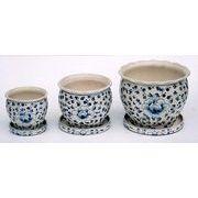 陶器植木鉢3点セット(受皿付)【手描き花柄】
