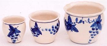 陶器植木鉢3点セット【手描きぶどう柄】
