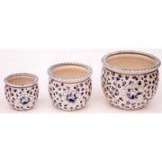 陶器植木鉢3点セット【手描き花柄】