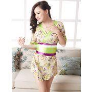 浴衣 着物ドレス 緑×紫 和服コスプレ コスチューム 帯付き 半袖コスプレ 4002