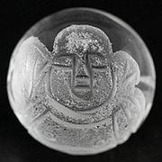 【彫刻ビーズ】水晶 12mm (素彫り) 七福神「布袋和尚」