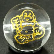 【彫刻ビーズ】水晶 12mm 線彫り (金彫り) 七福神 「布袋和尚」