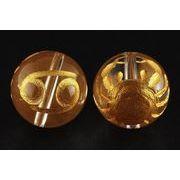 【彫刻ビーズ】水晶 12mm (金彫り) 12星座「蟹座」